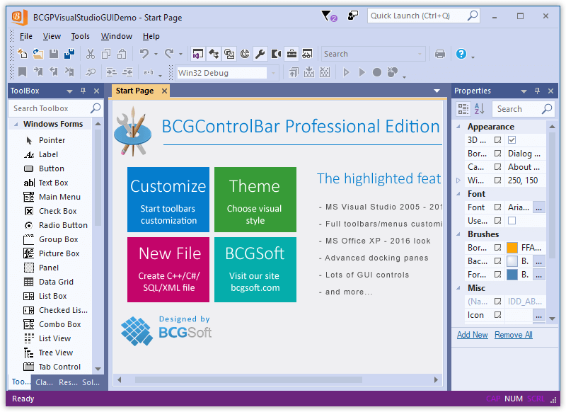 BCGControlBar Pro for MFC: versions
