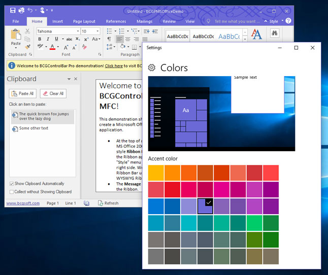 The Application Appearance Is Automatically Updated When User Changes Accent Color In Windows Settings Dialog Please Take A Look At BCGPMSOfficeDemo